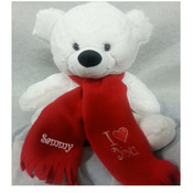 Valentines Teddy with scarf - Valentines Teddy Bear