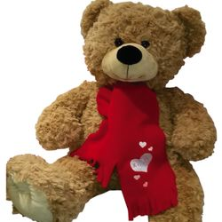 XLarge Valentines Teddy Bear - Personalised Scarf Thumbnail